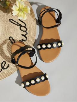 Comfort Open Toe Ankle Strap Black Faux Pearl Decor Scalloped Flat Sandals