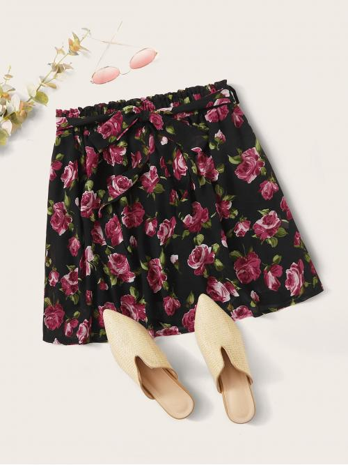 Casual Straight Floral Mid Waist Multicolor Above Knee/Short Length Floral Print Self Tie Skirt with Belt