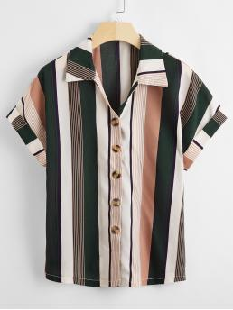 Short Sleeve Shirt Button Front Cotton Blends Colorful Stripe Button up Shirt on Sale