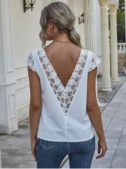Sleeveless Shirt Button Polyester Guipure Lace Panel up Blouse Sale