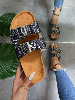 Black Footbedsandals Buckle Flat Decor Paisley Graphic Footbed Sandals Beautiful