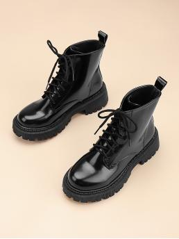 Pretty Black Pu Leather Rubber Polyester Minimalist Front Combat Boots