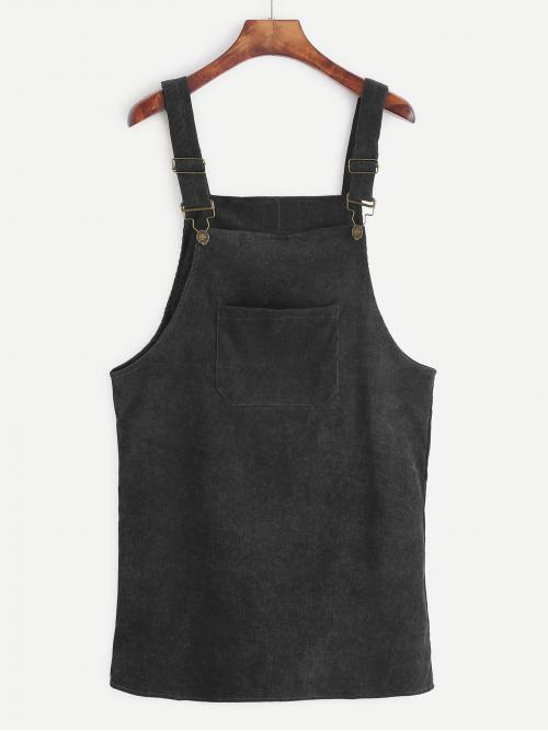 Preppy Pinafore Plain Straight Loose Straps Sleeveless Black Short Length Corduroy Overall Dress
