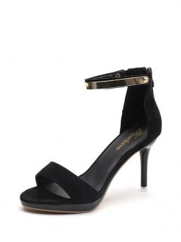 Business Casual Open Toe Platform Ankle Strap Black High Heel Stiletto Metal Detail Two Part Heeled Sandals