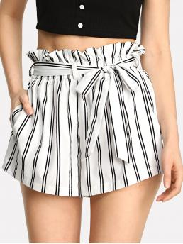 Casual Striped Wide Leg Regular Elastic Waist High Waist Black and White Striped Self Tie Waist Pocket Side Shorts with Belt