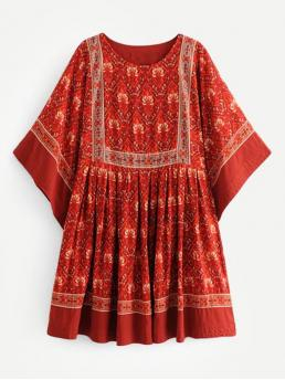 Boho Smock Tribal Loose Round Neck Three Quarter Length Sleeve Batwing Sleeve High Waist Red Short Length Ornate Print Kimono Smock Dress