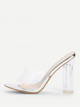 Women's Polyester Silver Mules Fringe Clear Design Block Heeled Pumps
