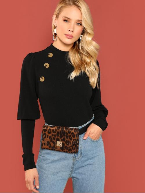Sale Long Sleeve Top Double Button Cotton Mutton Sleeve Tee