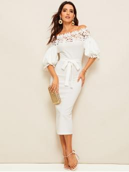 Elegant Bodycon Plain Slim Fit Off the Shoulder Half Sleeve Bishop Sleeve Natural White Long Length Guipure Lace Yoke Puff Sleeve Pencil Dress with Belt
