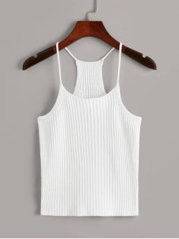Casual Cami Plain Slim Fit Spaghetti Strap White Crop Length Racerback Knit Cami Top
