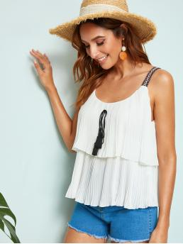 Boho Cami Pleated Regular Fit Straps White Regular Length Tribal Straps Tassel Knot Layered Plisse Top