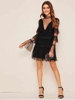 Glamorous Fitted Plain Flounce Loose Stand Collar Long Sleeve Flounce Sleeve Natural Black Short Length Layered Ruffle Dot Mesh Dress with Lining
