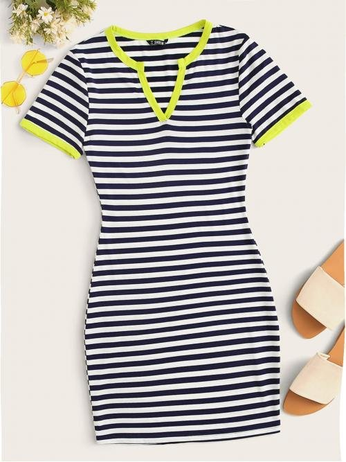 Preppy Bodycon Striped Slim Fit Notched Short Sleeve Regular Sleeve Natural Navy Short Length Striped Bodycon Ringer Mini Dress