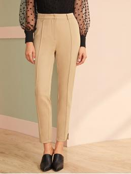 Elegant Plain Tailored Regular Zipper Fly Mid Waist Khaki and Pastel Long Length Split Hem Solid Tailored Pants