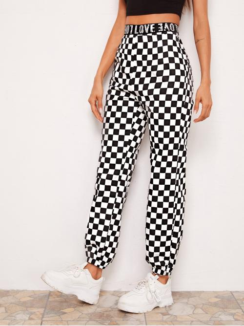 Black and White High Waist Tape Letter Waist Checkered Pants Sale