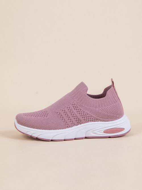 Shopping Pink Running Shoes Low-top Fabric Wide Fit Slip on Sneakers