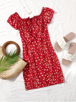 Fashion Red Ditsy Floral Tie Front off the Shoulder Frill Trim Dress