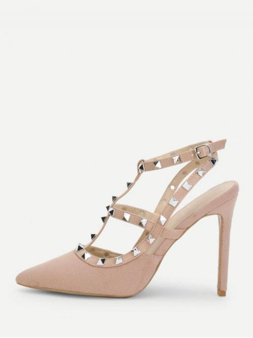 Corduroy Pink Court Pumps Studded Gladiator Heels Clearance