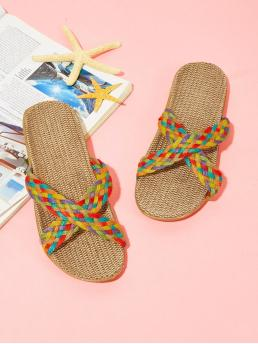 Corduroy Multicolor Slide Sandals Bow Weave Flat Sliders Sale