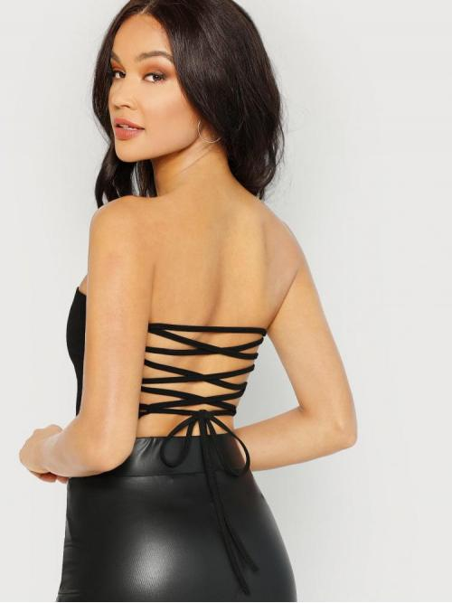 Women's Long Sleeve Peplum Lace up Polyester Back Bandeau Top