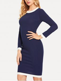 Beautiful Navy Blue Colorblock Zipper Round Neck Contrast Trim Pencil Dress