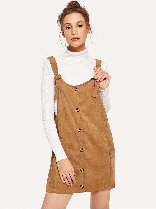Preppy Pinafore Plain Loose Straps Sleeveless Natural Camel Short Length Tortoise Button Overall Corduroy Dress