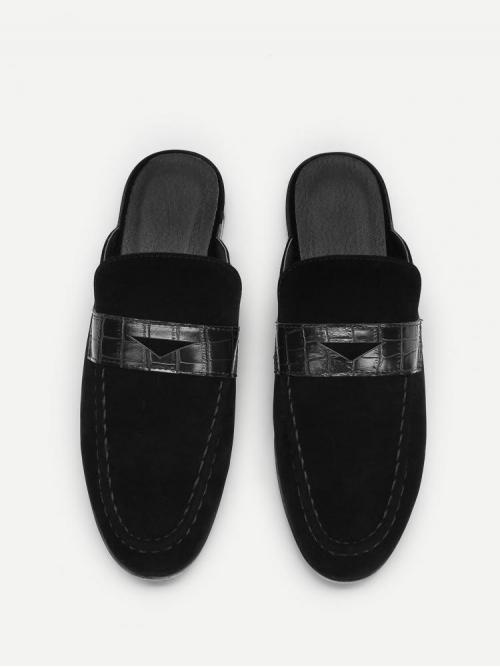 Shopping Corduroy Black Ballet Embroidery Solid Mule Flats