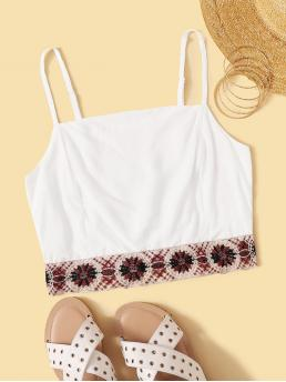 Boho Cami Regular Fit Spaghetti Strap White Crop Length Tribal Tape Shirred Cami Top