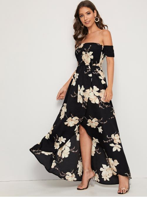 Boho A Line Floral Wrap Regular Fit Off the Shoulder Short Sleeve Regular Sleeve High Waist Black Long Length Floral Off Shoulder Split Wrap Hem Shirred Dress