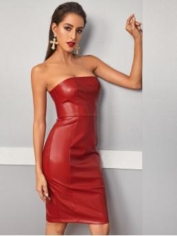 Glamorous and Sexy Fitted Plain Pencil Regular Fit Strapless Sleeveless High Waist Red Short Length Solid Tube PU Pencil Dress