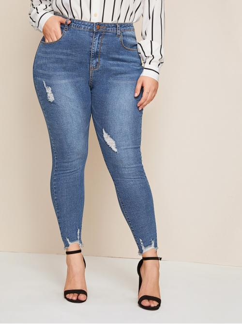 Casual Skinny Plain Slim Fit Button Fly Natural Blue Crop Length Plus Ripped Raw Hem Skinny Jeans