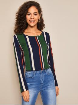 Casual Striped and Colorblock Top Regular Fit Round Neck Long Sleeve Regular Sleeve Pullovers Multicolor Regular Length Colorblock Striped Top