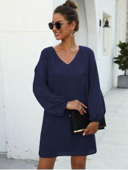 Casual Tunic Plain Straight Regular Fit Round Neck Long Sleeve Regular Sleeve Natural Navy Short Length V-neck Blouson Cuff Tunic Dress with Lining