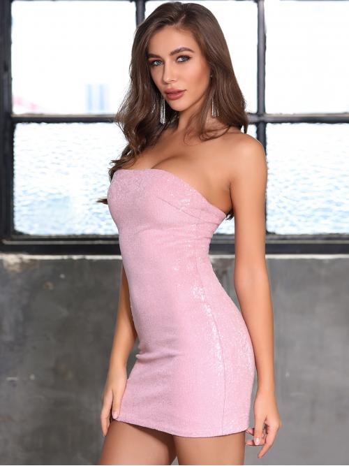 Glamorous and Sexy Bodycon Plain Pencil Slim Fit Off the Shoulder Sleeveless Natural Pink and Pastel Mini Length DKRX Tube Sequin Bodycon Dress with Lining