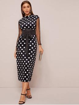 Elegant Fitted Polka Dot Slit Regular Fit Stand Collar Long Sleeve Regular Sleeve High Waist Black and White Long Length Self Tie Contrast Mesh Sleeve Polka Dot Print Fitted Dress with Belt