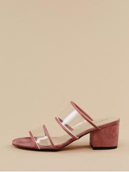 Business Casual Peep Toe Plain Red Mid Heel Chunky PVC Double Band Open Toe Chunky Heel Sandals