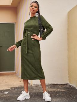 Casual Fitted Plain Slit Regular Fit Stand Collar Long Sleeve Regular Sleeve High Waist Army Green Long Length Mock Neck Split Back Suede Fitted Dress with Belt