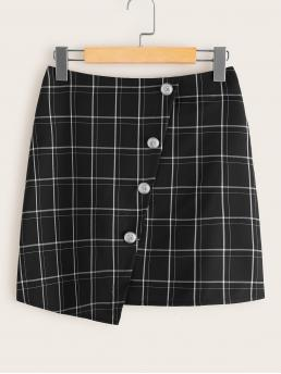 Casual Straight Plaid High Waist Black Mini Length Button Front Plaid Mini Skirt