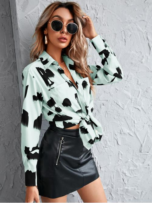 Sale Long Sleeve Tunic Button Front Polyester Graphic Print Button up Blouse
