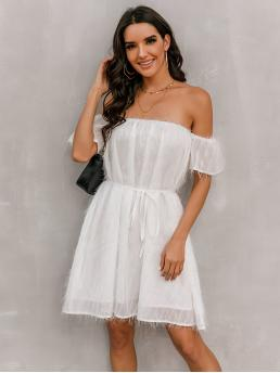 White Plain Belted off the Shoulder Solid Dress Pretty
