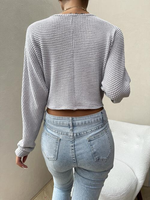 Long Sleeve Ruched Polyester Plain Solid Front Top Clearance