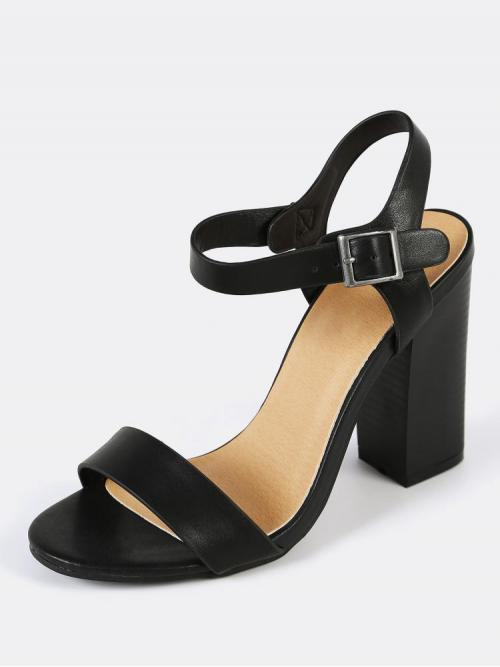 Corduroy Black Court Pumps Gemstone Single Band Ankle Buckle Heel Shopping
