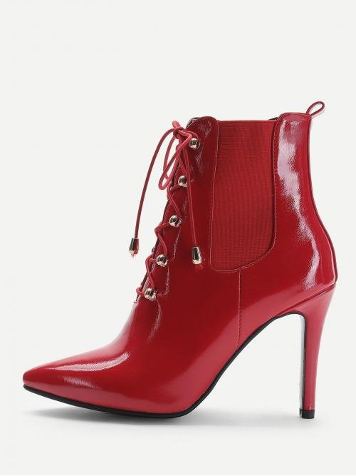 Ladies Polyester Red Chelsea Boots Cut out Front Patent Leather
