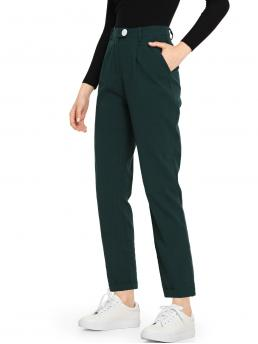 Green High Waist Double Button Straight Leg Slant Pocket Solid Pants Cheap