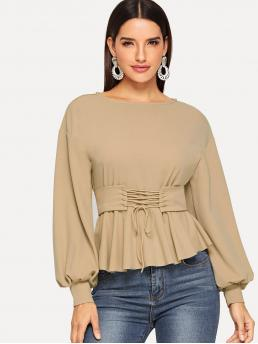 Elegant Peplum Plain Regular Fit Round Neck Long Sleeve Bishop Sleeve Pullovers Khaki Regular Length Lantern Sleeve Top with Corset Belt