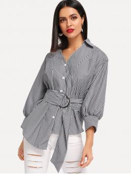 Casual Striped Shirt Regular Fit Collar Three Quarter Length Sleeve Bishop Sleeve Placket Black and White Longline Length Striped Belted Asymmetric Hem Single Breasted Blouse with Belt