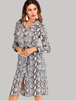 Casual Shirt Animal Straight Regular Fit Collar Long Sleeve Natural Multicolor Midi Length Self Tie Split Snake Print Shirt Dress with Belt