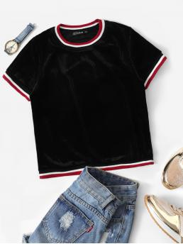 Sporty Regular Fit Round Neck Short Sleeve Pullovers Black Regular Length Ribbed Velvet Ringer Tee