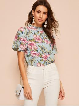 Boho Floral Top Regular Fit Stand Collar Short Sleeve Pullovers Multicolor Regular Length Floral Print Butterfly Sleeve Blouse