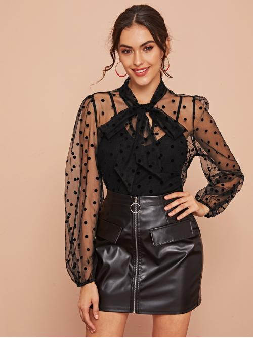 Elegant Polka Dot Shirt Regular Fit Stand Collar Long Sleeve Bishop Sleeve Pullovers Black Regular Length Tie Neck Dobby Sheer Mesh Overlay Blouse Without Cami